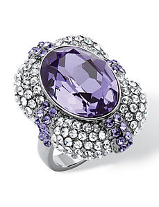 Violet Crystal Cocktail Ring by PalmBeach Jewelry