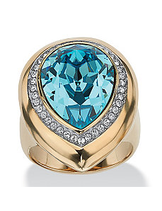 Aqua Crystal Ring by PalmBeach Jewelry