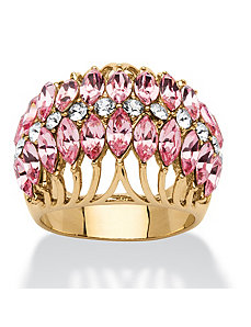 Rose Crystal Row Ring by PalmBeach Jewelry
