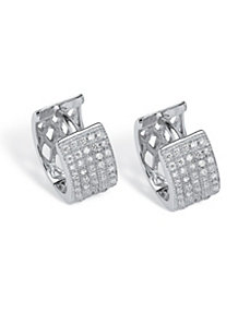 .55 TCW Micro Pave Huggie Earrings by PalmBeach Jewelry