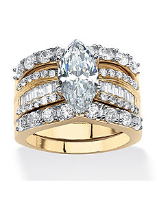 4.55 TCW Cubic Zirconia Ring Set by PalmBeach Jewelry