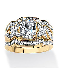 2.97 TCW Cubic Zirconia Ring Set by PalmBeach Jewelry