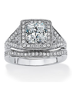 1.94 TCW Cubic Zirconia Ring Set by PalmBeach Jewelry
