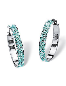 Pave Birthstone Hoop Earrings by PalmBeach Jewelry