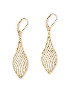 Laser-Cut Leaf Earrings by PalmBeach Jewelry