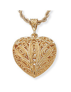 Filigree Heart Pendant by PalmBeach Jewelry