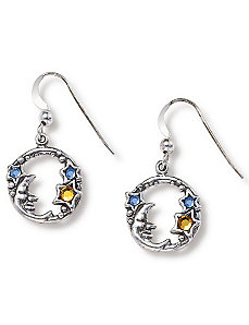 Silver Moon/Stars Earrings by PalmBeach Jewelry