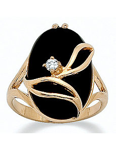Onyx/Crystal Ring by PalmBeach Jewelry