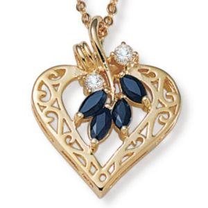 Sapphire &cubic zirconia Goldtone Pendant