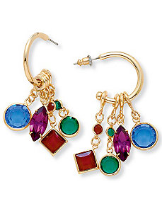 Charm Hoop Earrings by PalmBeach Jewelry
