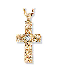 Cubic Zirconia Nugget Cross by PalmBeach Jewelry