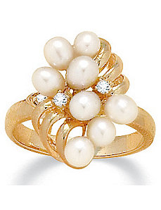 Pearl/Crystal Ring by PalmBeach Jewelry