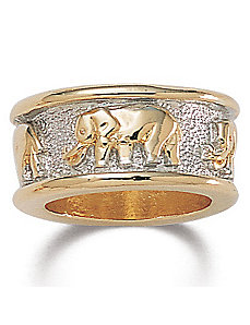 Tutone Elephant Ring by PalmBeach Jewelry