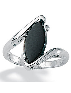 Onyx and Silver Ring by PalmBeach Jewelry
