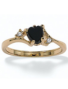 Onyx/Crystal Accents Ring by PalmBeach Jewelry
