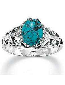 Simulated Turquoise Silver Ring by PalmBeach Jewelry