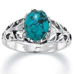 Simulated Turquoise Silver Ring
