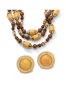 Brown Beaded Jewelry Set by PalmBeach Jewelry