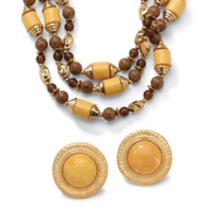 Brown Beaded Jewelry Set