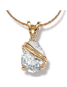 Cubic Zirconia Wrapped Pear Pendant by PalmBeach Jewelry