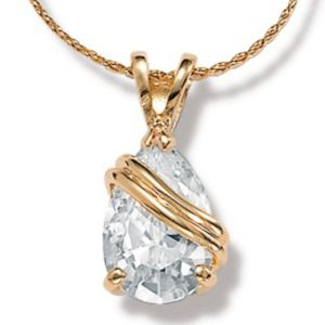 Cubic Zirconia Wrapped Pear Pendant