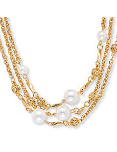 "Simulated Pearl Necklace 30"" by PalmBeach Jewelry"
