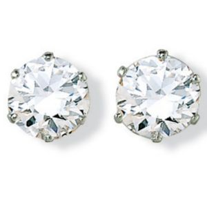 6 CT.T.W.cubic zirconia Silver Studs