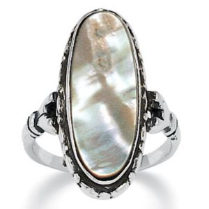 Abalone Antiqued Ring