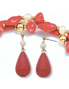 2-Piece Sim. Pearl Set by PalmBeach Jewelry