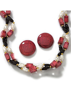2-Piece Sim. Multi-Colored Bead Set by PalmBeach Jewelry