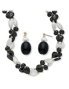 Black and White Lucite Beaded Set by PalmBeach Jewelry