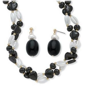 Black and White Lucite Beaded Set