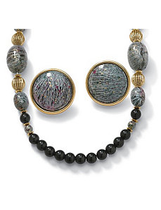 Black and Multi Beaded Jewelry Set by PalmBeach Jewelry