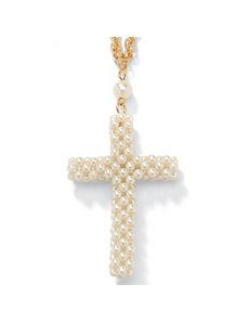 Simulated Pearl Cross Pendant by PalmBeach Jewelry