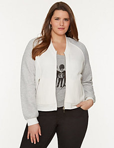 Knit baseball jacket by LANE BRYANT