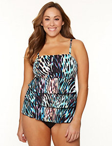 Animal print tiered ruffle tankini top