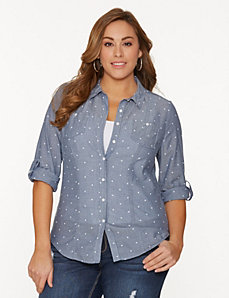 Dotted double pocket shirt by LANE BRYANT