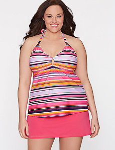Striped halter tankini top by COCOS Swim by LANE BRYANT