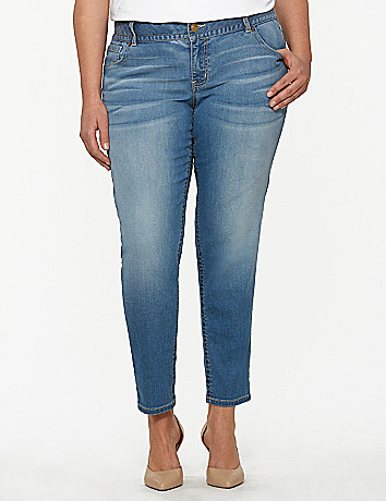 Genius Fit light wash skinny ankle jean