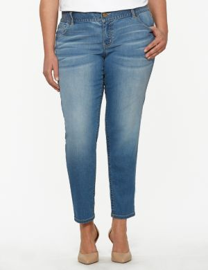 Genius Fit™ light wash skinny ankle jean