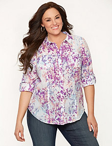 Printed double pocket shirt by LANE BRYANT