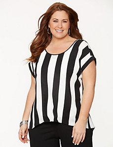 Striped split-back tee