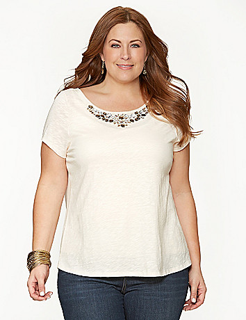 Embellished split back tee