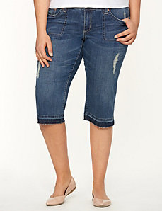 Destructed denim capri by Seven7 by LANE BRYANT