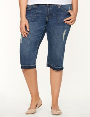 Destructed denim capri by Seven7
