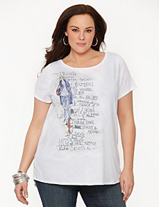 Fashion girl split-back tee