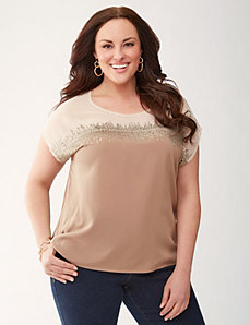 Sequined woven tee by LANE BRYANT