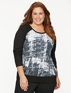 Woven print sweatshirt by LANE BRYANT