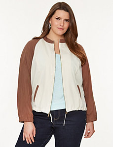 Soft twill baseball jacket by LANE BRYANT