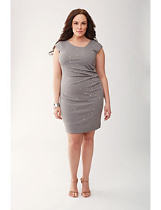 Lane Collection embellished pleated dress